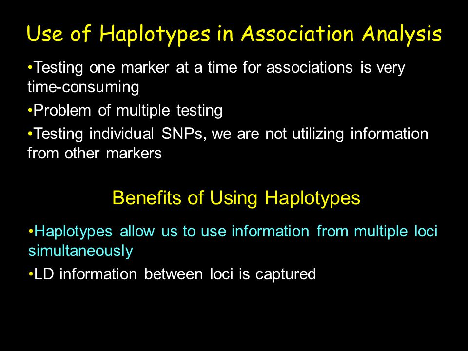 Use of Haplotypes in Association Analysis
