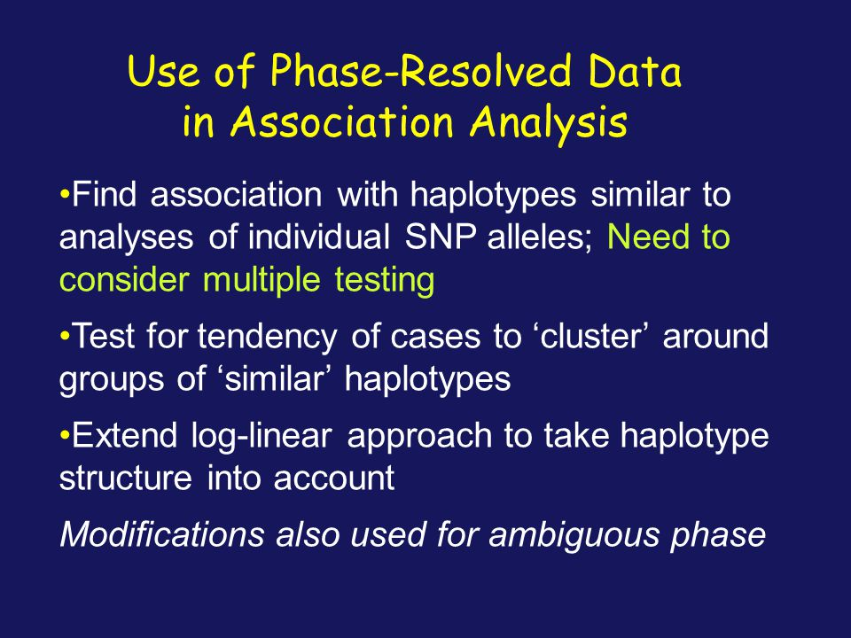Use of Phase-Resolved Data in Association Analysis