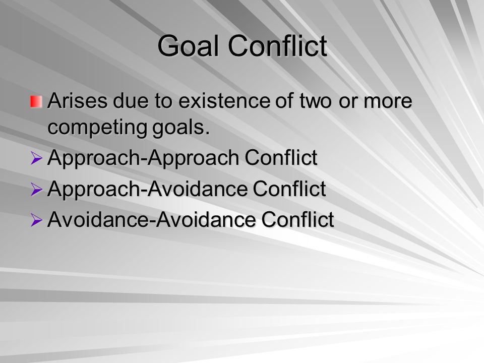 Goal Conflict Arises due to existence of two or more competing goals.