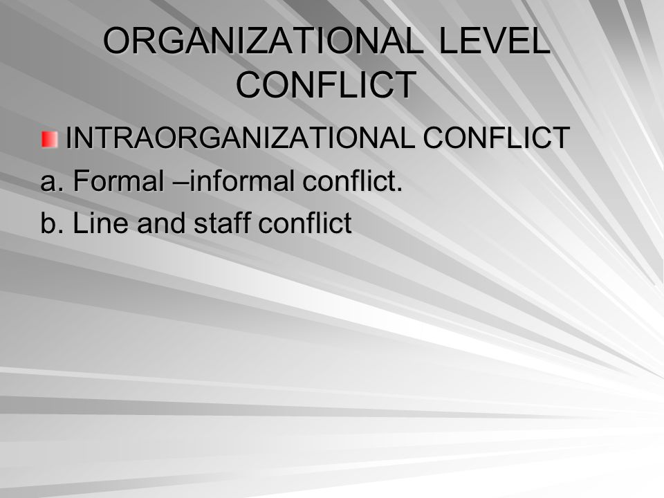 ORGANIZATIONAL LEVEL CONFLICT