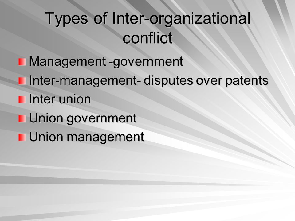 Types of Inter-organizational conflict