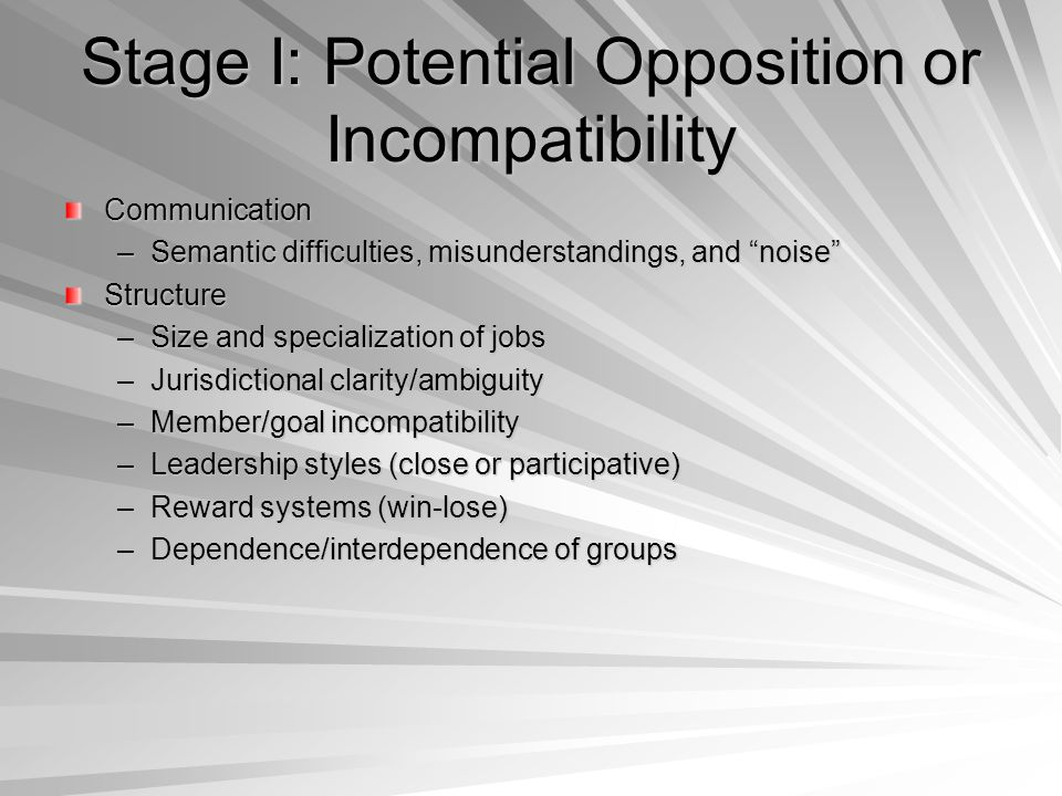Stage I: Potential Opposition or Incompatibility