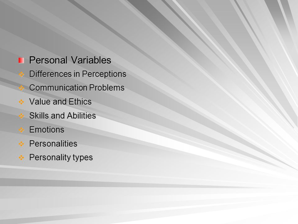 Personal Variables Differences in Perceptions Communication Problems