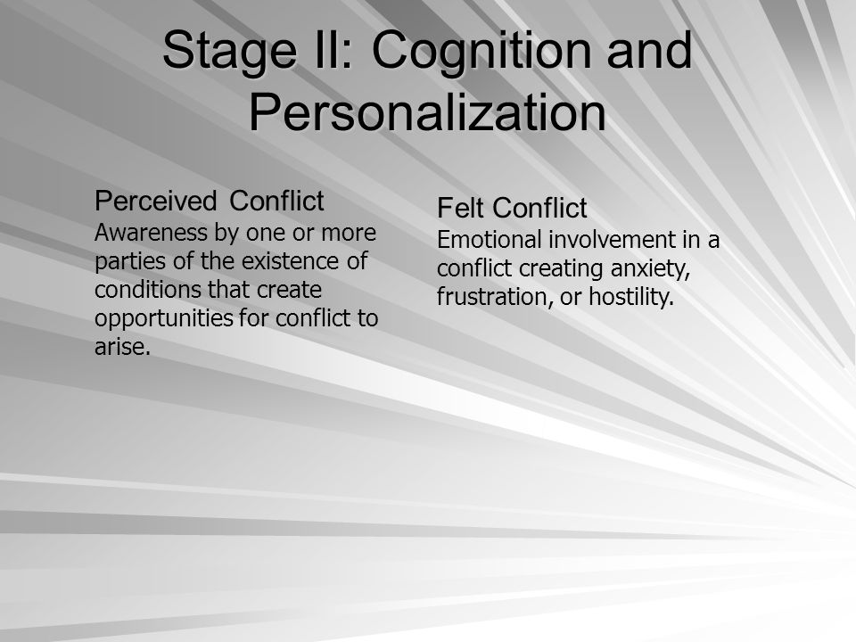 Stage II: Cognition and Personalization
