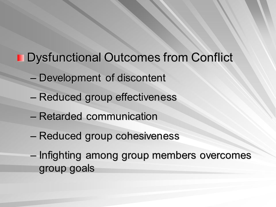 Dysfunctional Outcomes from Conflict