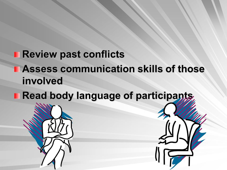 Review past conflicts Assess communication skills of those involved.