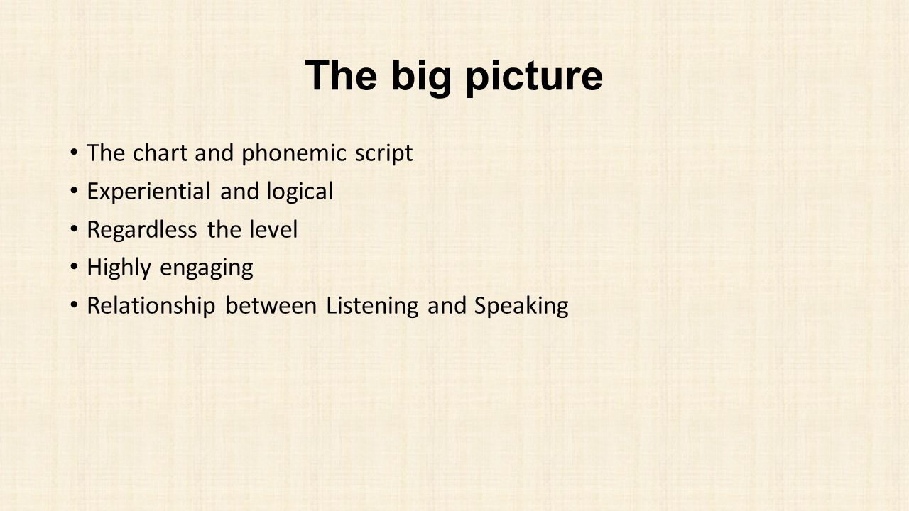 The big picture The chart and phonemic script Experiential and logical