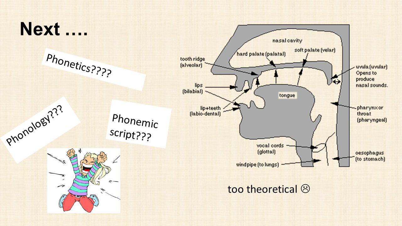 Next …. Phonetics Phonology Phonemic script