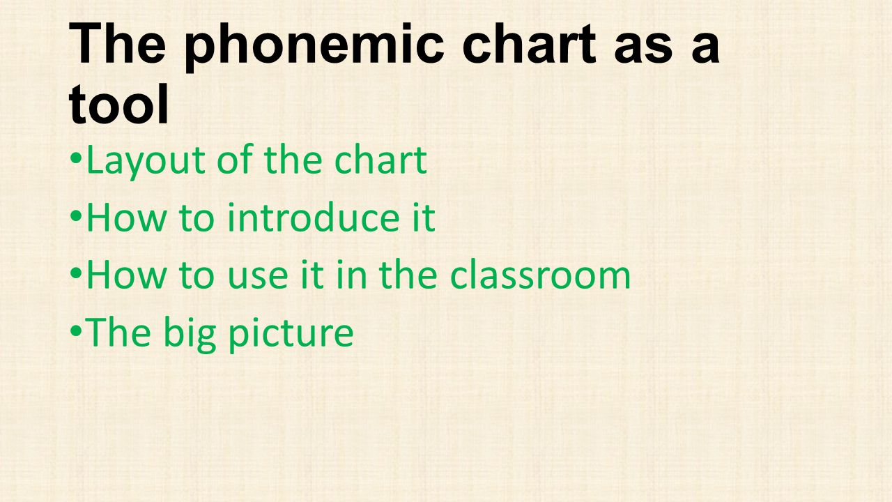 The phonemic chart as a tool