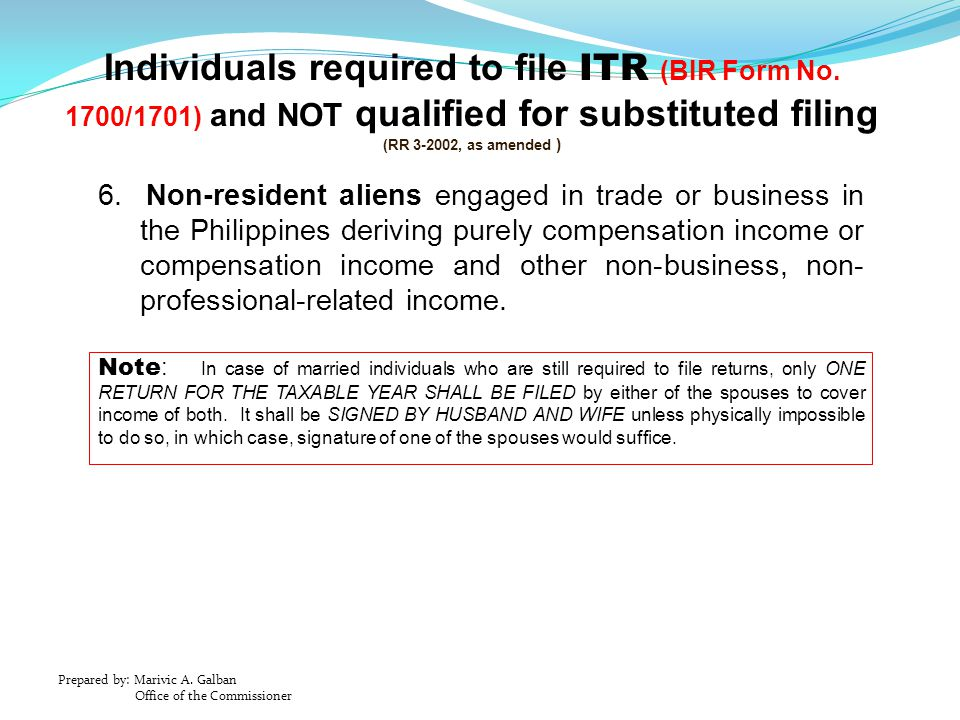 Individuals required to file ITR (BIR Form No