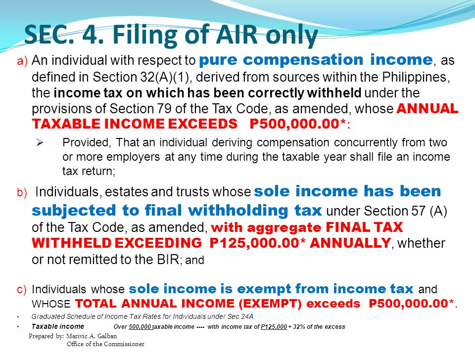 SEC. 4. Filing of AIR only