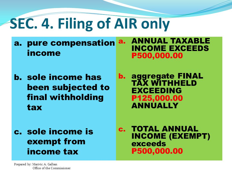 SEC. 4. Filing of AIR only pure compensation income