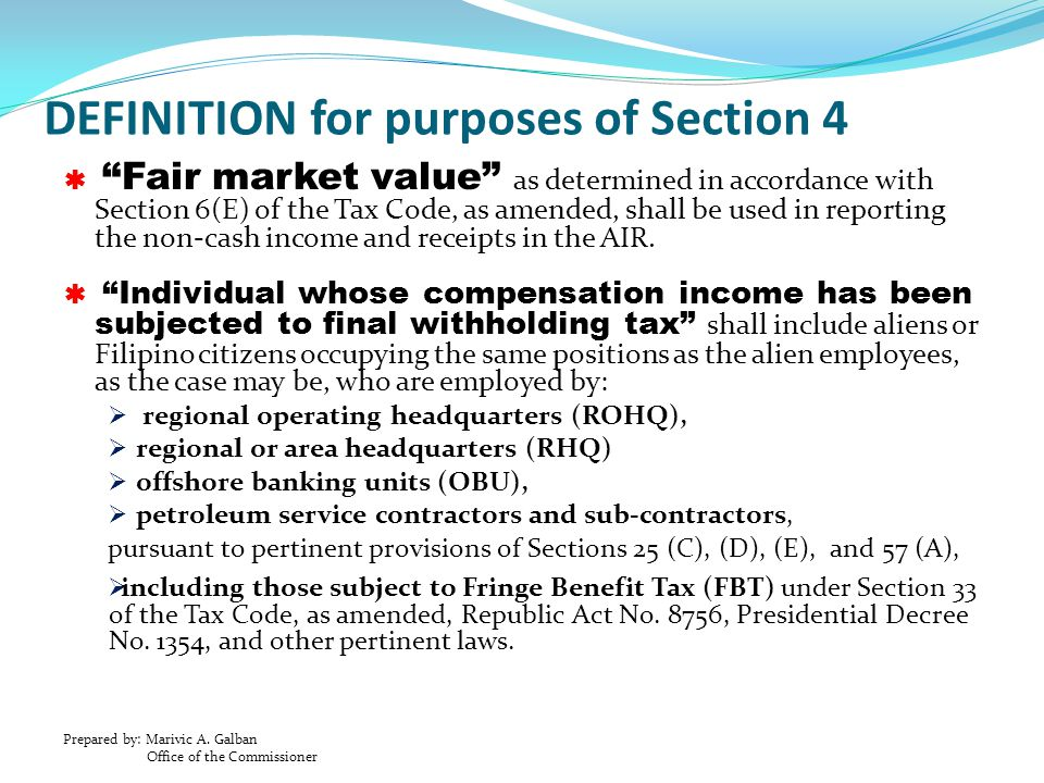 DEFINITION for purposes of Section 4