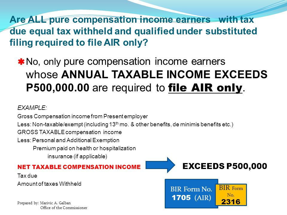 Are ALL pure compensation income earners with tax due equal tax withheld and qualified under substituted filing required to file AIR only