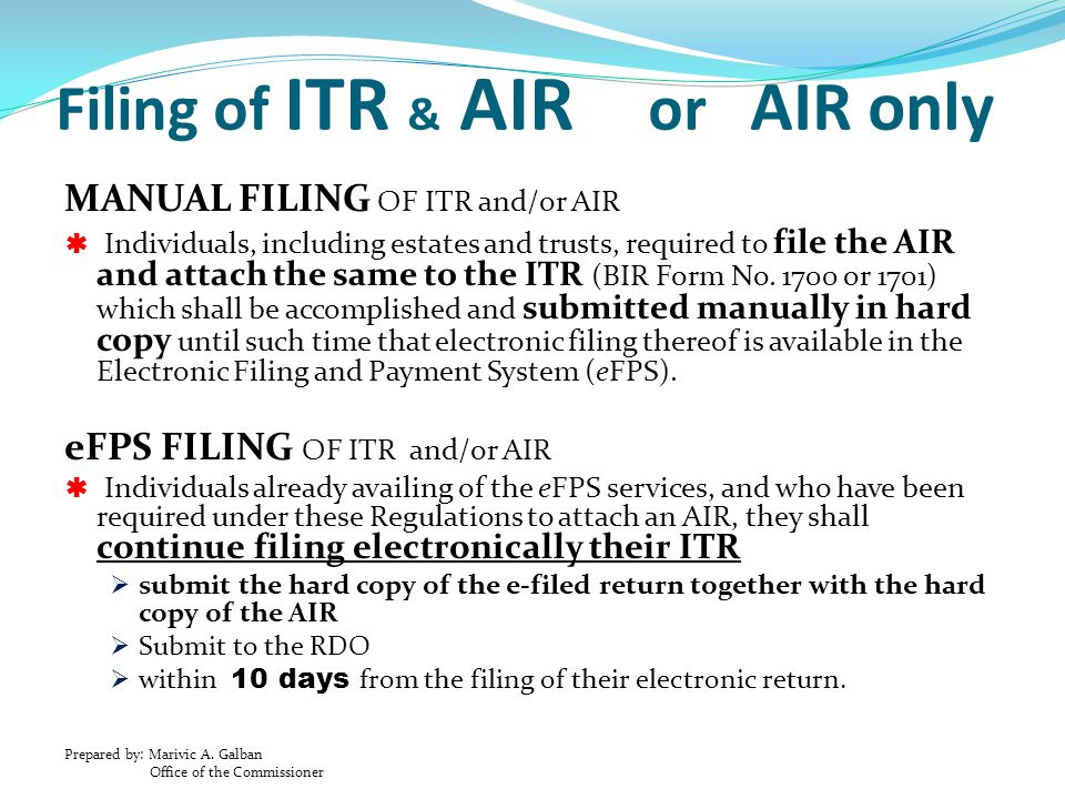 Filing of ITR & AIR or AIR only