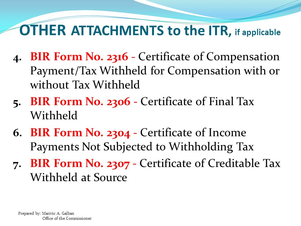 OTHER ATTACHMENTS to the ITR, if applicable