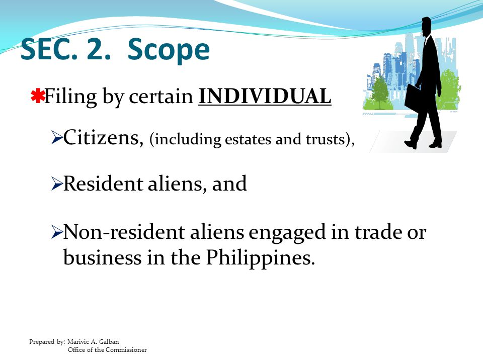 SEC. 2. Scope Filing by certain INDIVIDUAL