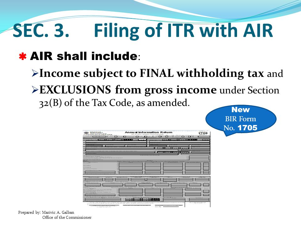 SEC. 3. Filing of ITR with AIR