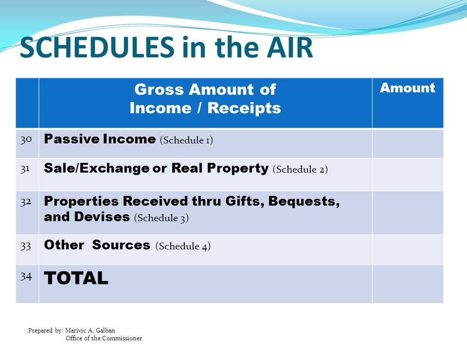 SCHEDULES in the AIR TOTAL Gross Amount of Income / Receipts Amount