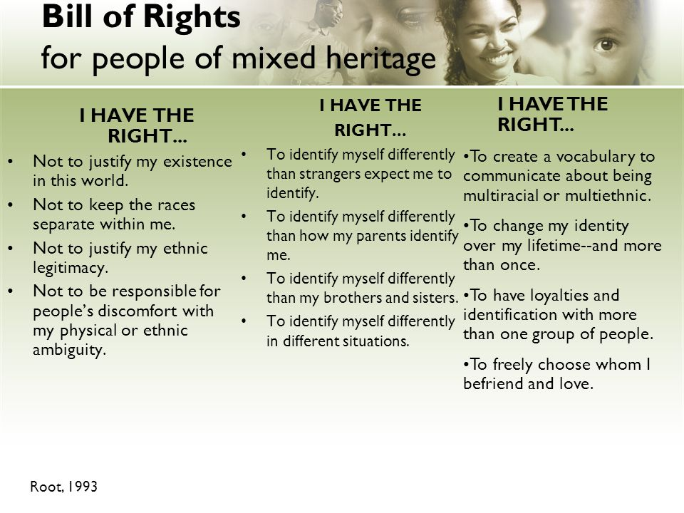 Bill of Rights for people of mixed heritage