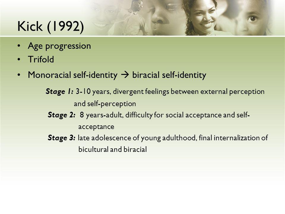 Kick (1992) Age progression. Trifold. Monoracial self-identity  biracial self-identity.