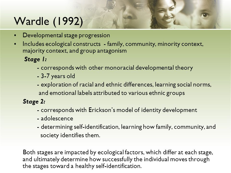 Wardle (1992) Developmental stage progression
