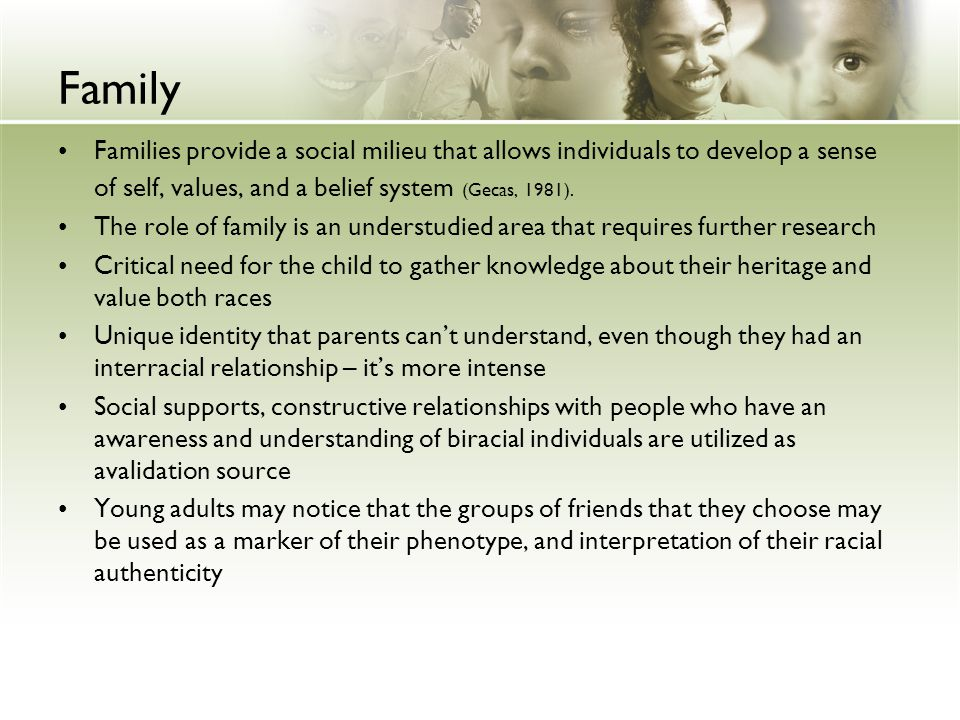 Family Families provide a social milieu that allows individuals to develop a sense of self, values, and a belief system (Gecas, 1981).