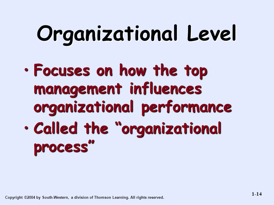 Organizational Level Focuses on how the top management influences organizational performance. Called the organizational process