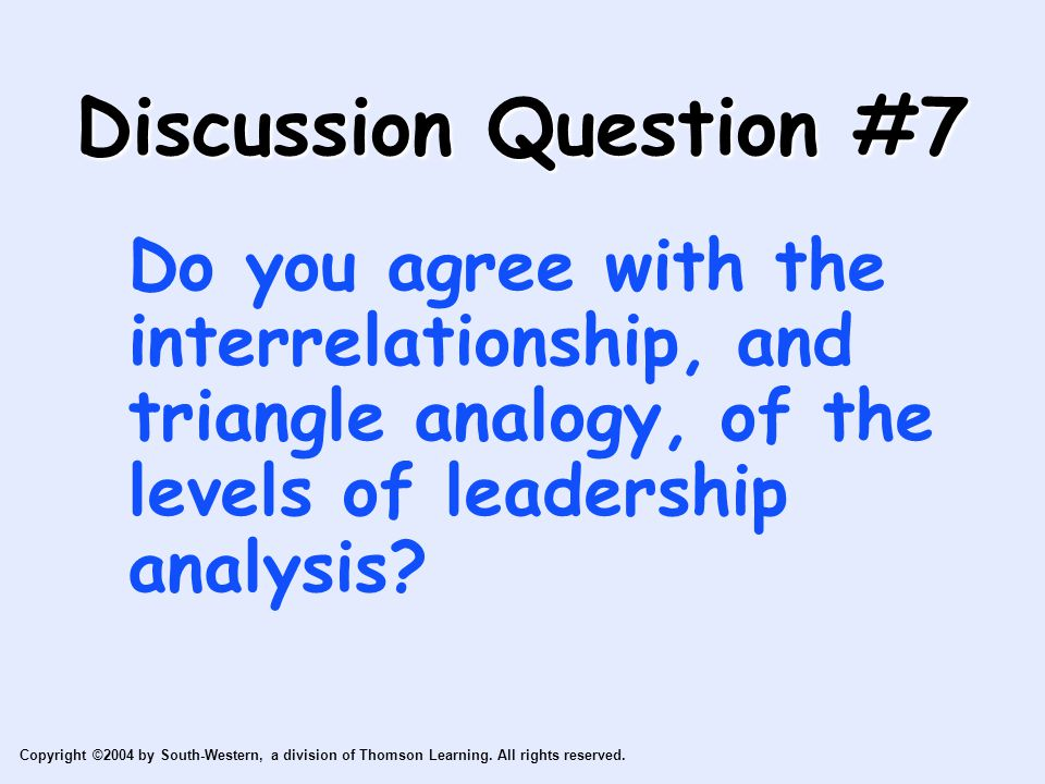 Discussion Question #7 Do you agree with the interrelationship, and triangle analogy, of the levels of leadership analysis