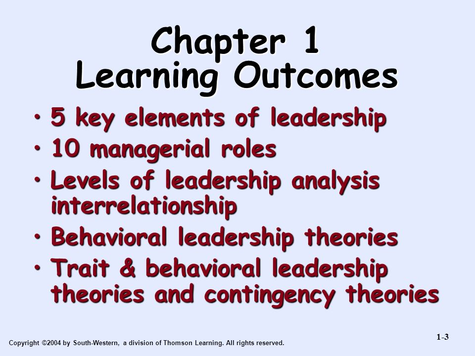 Chapter 1 Learning Outcomes