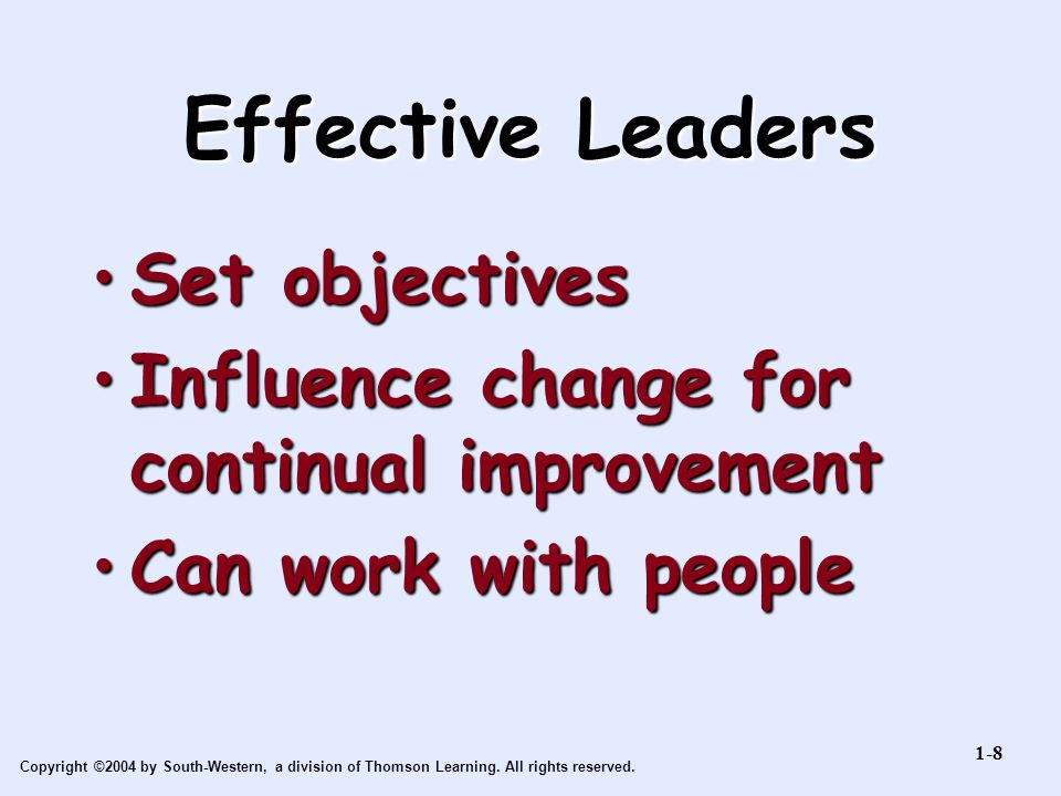 Effective Leaders Set objectives