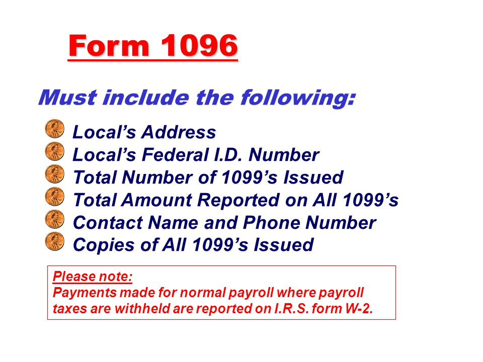 Form 1096 Must include the following: Local's Address