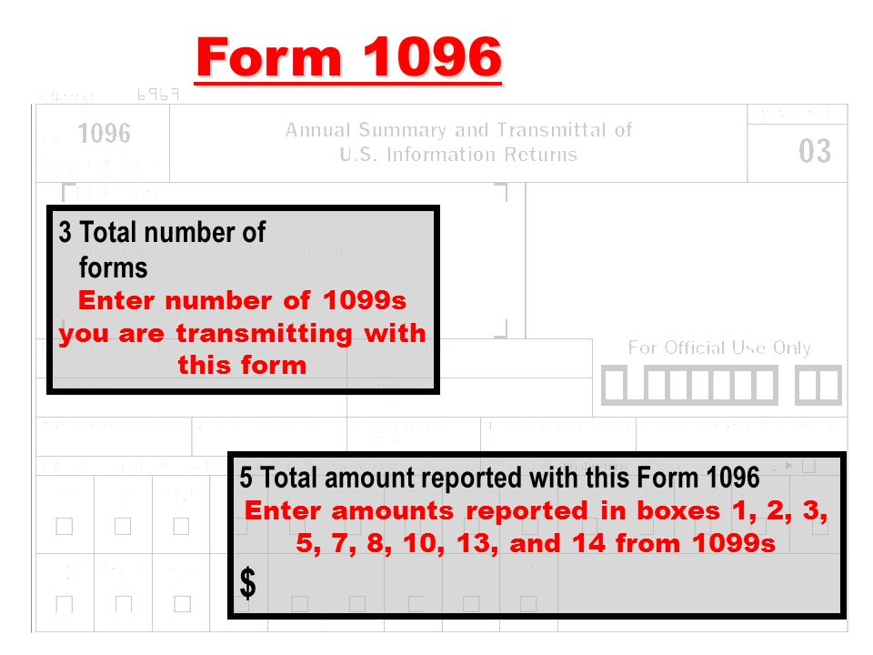 Enter number of 1099s you are transmitting with this form
