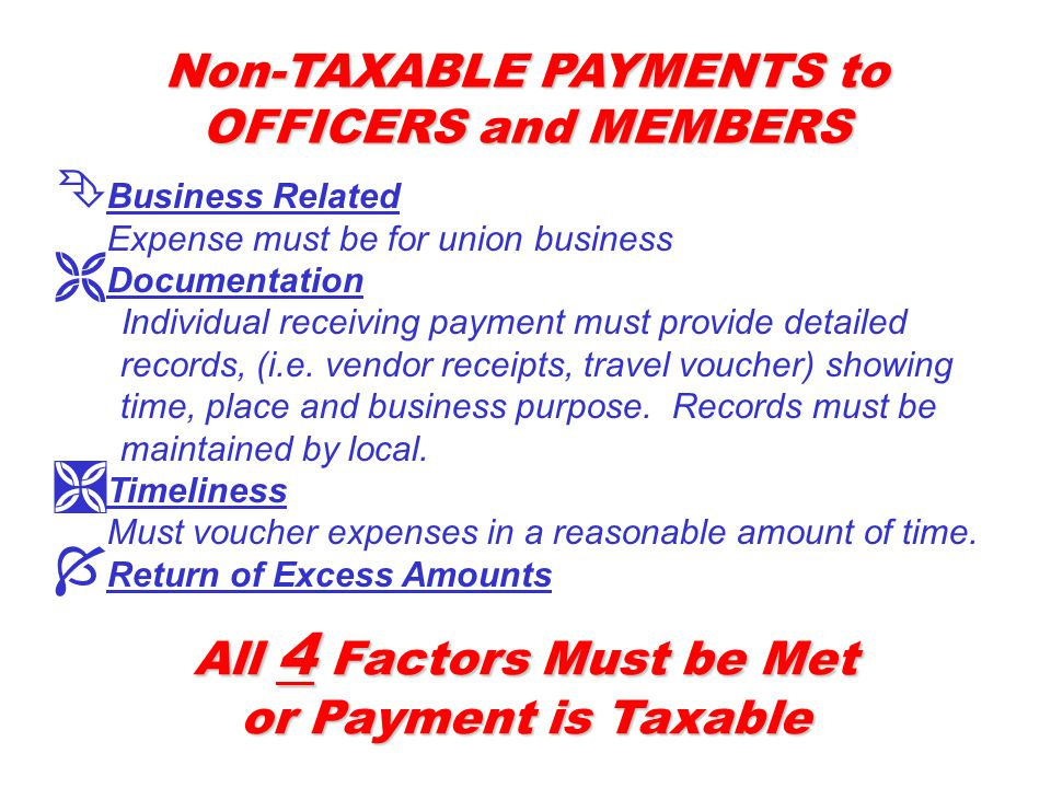 Non-TAXABLE PAYMENTS to OFFICERS and MEMBERS