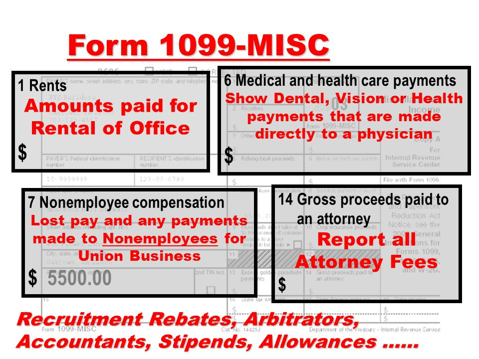 Form 1099-MISC $ $ $ 5500.00 Amounts paid for Rental of Office