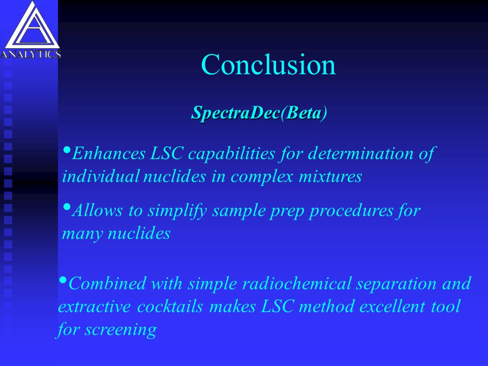 Conclusion SpectraDec(Beta)
