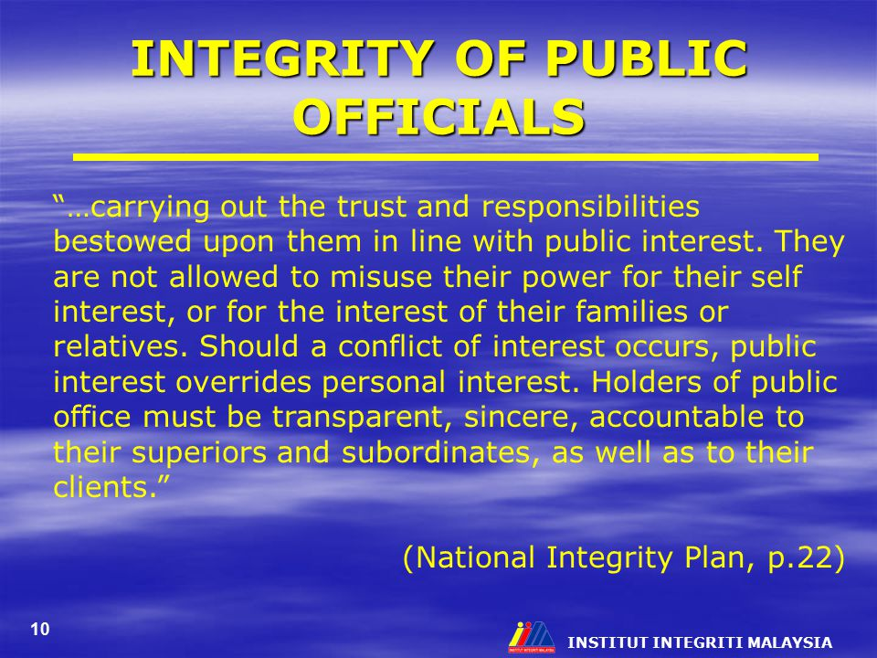 INTEGRITY OF PUBLIC OFFICIALS
