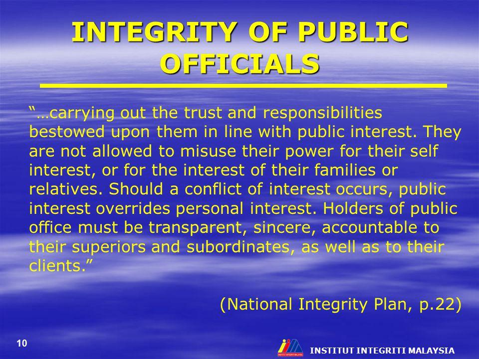 INTEGRITY OF PUBLIC OFFICIALS