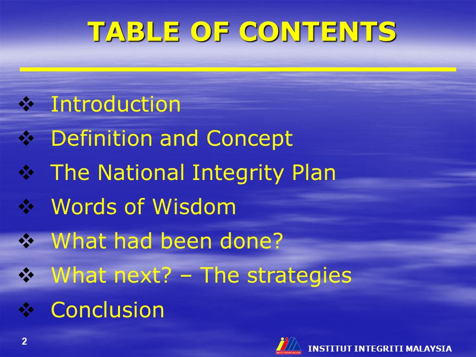 TABLE OF CONTENTS Introduction Definition and Concept