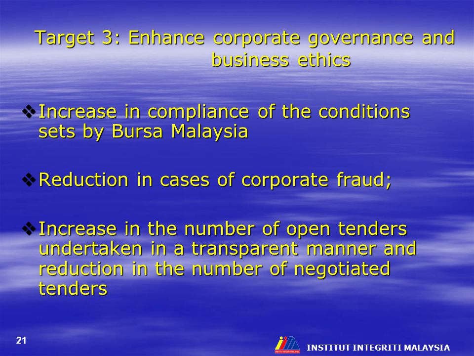 Target 3: Enhance corporate governance and business ethics