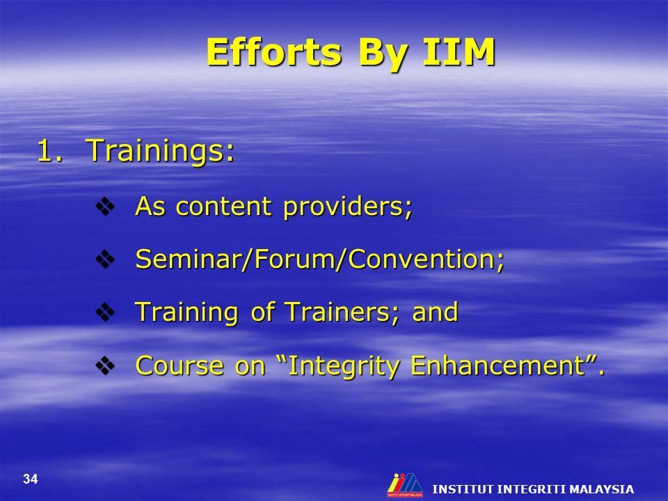 Efforts By IIM 1. Trainings: As content providers;