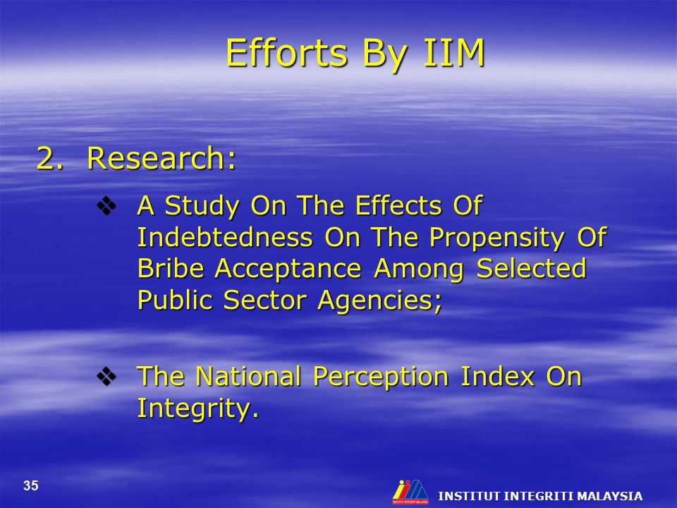 Efforts By IIM 2. Research: