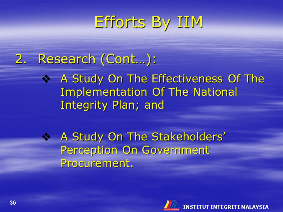 Efforts By IIM 2. Research (Cont…):
