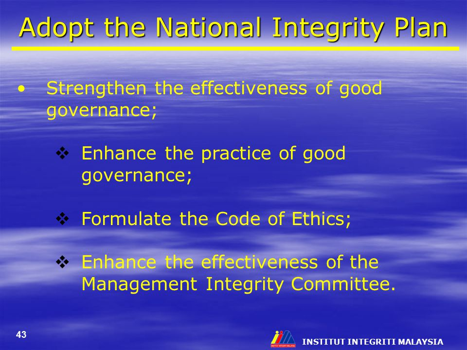 Adopt the National Integrity Plan