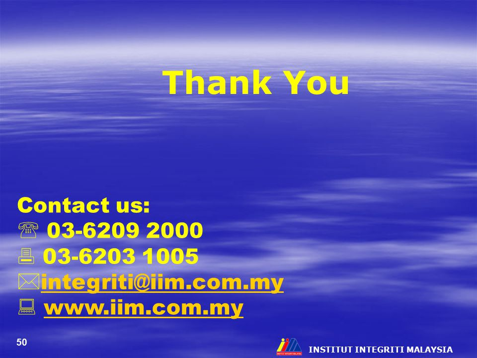 Thank You Contact us:  03-6209 2000  03-6203 1005
