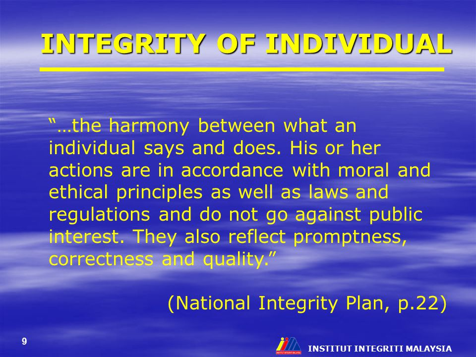 INTEGRITY OF INDIVIDUAL