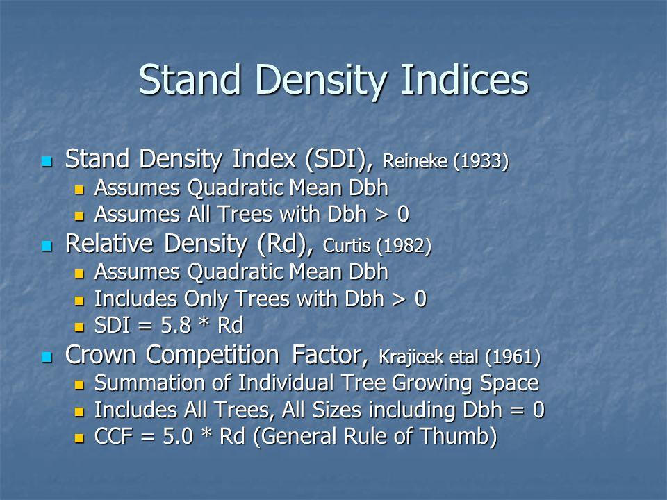Stand Density Indices Stand Density Index (SDI), Reineke (1933)