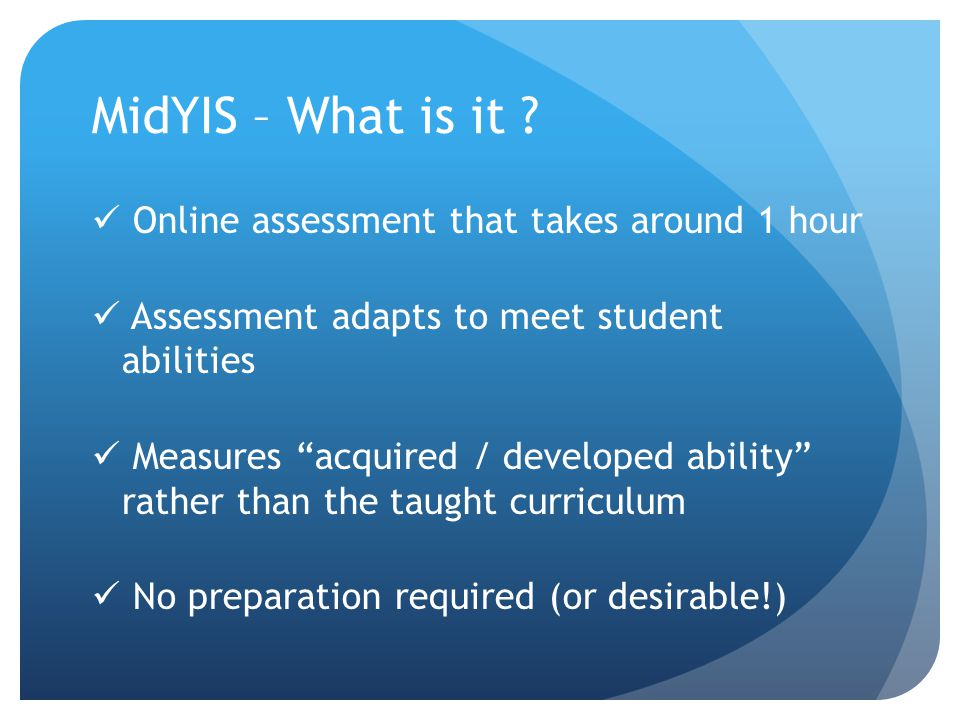 MidYIS – What is it Online assessment that takes around 1 hour