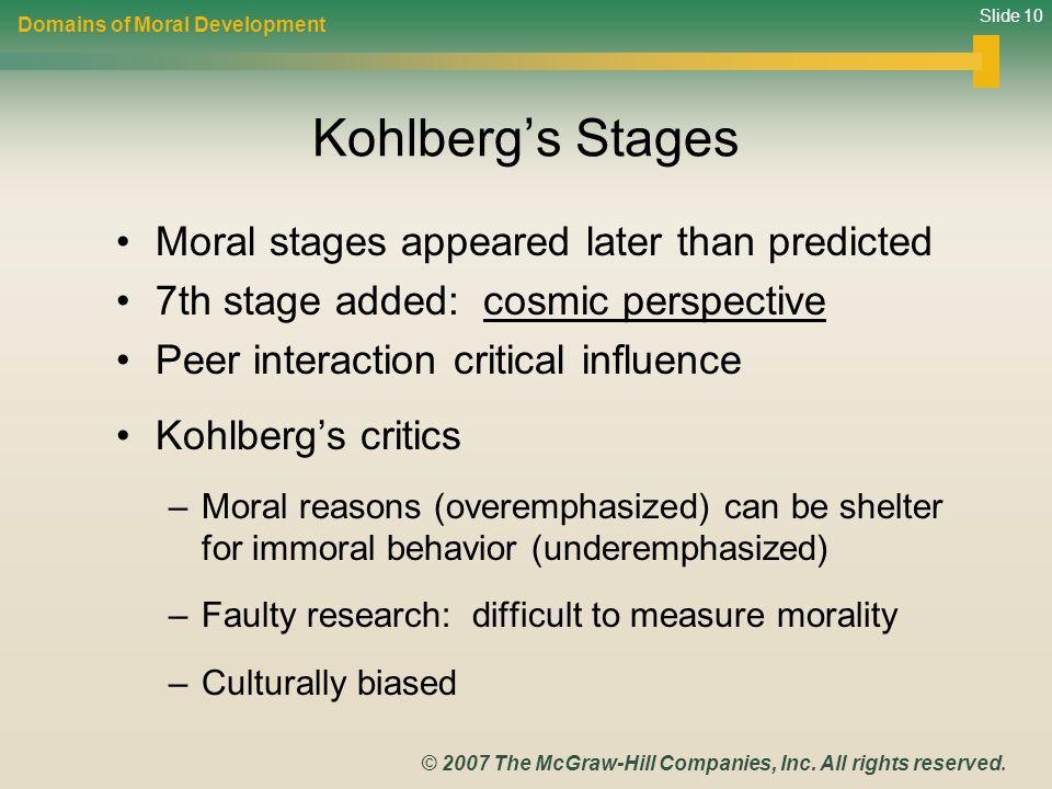 describe kohlberg's stages or moral development