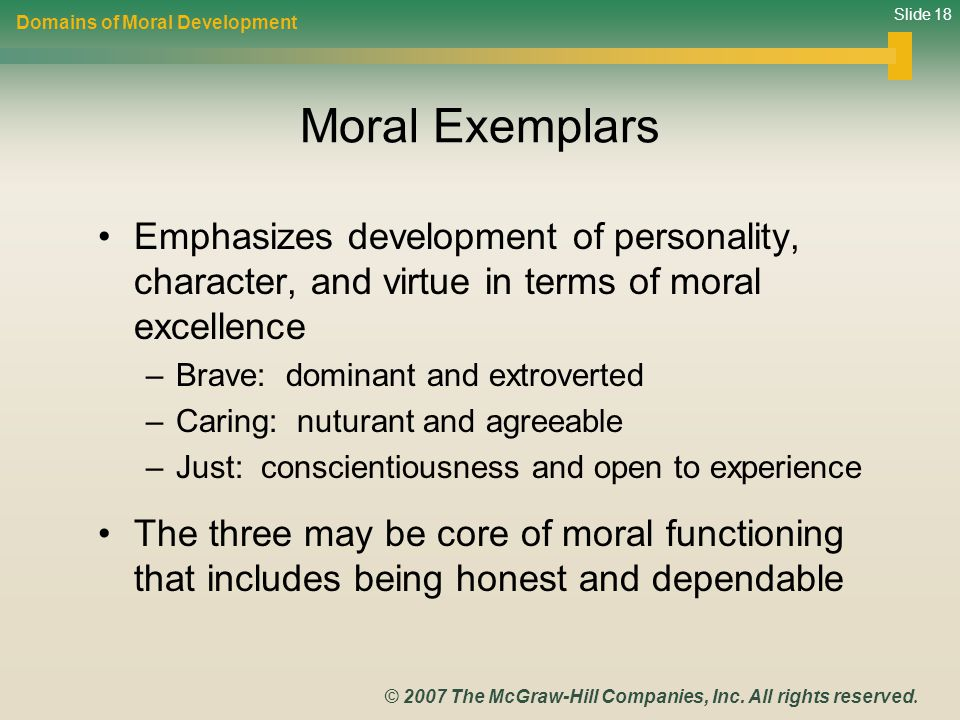 a discussion of personal virtues and moral character